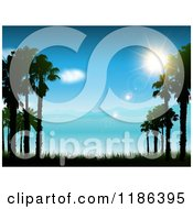 Clipart Of The Sun Shining Over A Blue Coastal Landscape And Sea Royalty Free Vector Illustration
