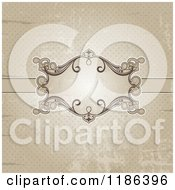 Clipart Of A Distressed Sepia Polka Dot Background With An Ornate Frame Royalty Free Vector Illustration
