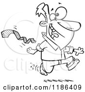 Cartoon Of A Black And White Excited Man Ripping His Tie Off And Running Bare Foot Royalty Free Vector Clipart