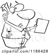 Cartoon Of A Black And White Scared Man Holding Out A File Royalty Free Vector Clipart