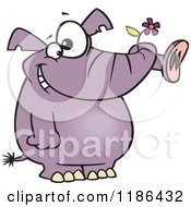 Cartoon Of A Giddy Purple Elephant Holding A Flower In His Trunk Royalty Free Vector Clipart by toonaday