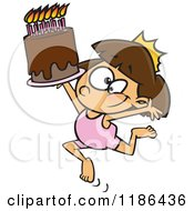 Cartoon Of A Gymnastics Princess Girl With A Tiara And Birthday Cake Royalty Free Vector Clipart
