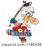 Cartoon Of An Old Hockey Geezer Man Royalty Free Vector Clipart