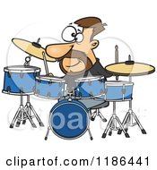 Cartoon Of A Drummer Dude With His Instruments Royalty Free Vector Clipart