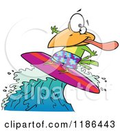 Cartoon Of A Surfer Bird Riding A Wave Royalty Free Vector Clipart by toonaday