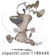 Cartoon Of A Dog Running With A Worried Expression Royalty Free Vector Clipart