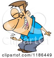 Cartoon Of A Man Laughing And Slapping His Knee Royalty Free Vector Clipart by toonaday