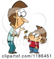 Cartoon Of A Thoughtful Boy Giving His Mom A Flower Royalty Free Vector Clipart
