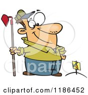 Cartoon Of A Proud Man Standing With A Hoe Over Planted Carrots Royalty Free Vector Clipart
