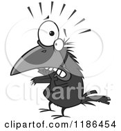 Cartoon Of A Scared Crow Biting His Nails Royalty Free Vector Clipart