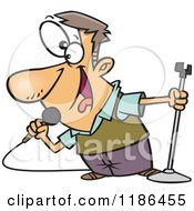 Cartoon Of A Happy Man Singing Into A Microphone Royalty Free Vector Clipart