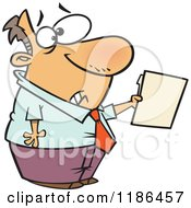 Cartoon Of A Scared Man Holding Out A File Royalty Free Vector Clipart by Ron Leishman