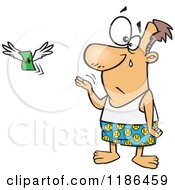Cartoon Of A Crying Man Stripped To His Boxers As His Money Flies Away On Tax Day Royalty Free Vector Clipart by toonaday