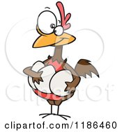 Cartoon Of A Proud Hen Holding Her Eggs Royalty Free Vector Clipart by toonaday