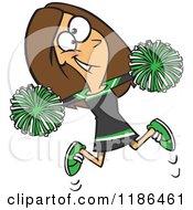 Green Cheer Clip Art Cartoon of a happy cheerleader