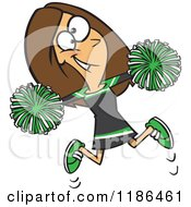 Happy Cheerleader Jumping With Green Pom Poms