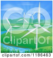 Wind Farm Turbines In A Hilly Landscape With A Spring And Sunshine