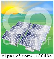 Clipart Of Solar Panels In A Hilly Landscape With A Stream And Sunset Royalty Free Vector Illustration