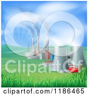 Clipart Of A Power Plant With Smoke Stacks And Nuclear Structures Royalty Free Vector Illustration