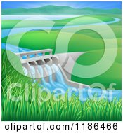 Clipart Of A Hydroelectric In A Hilly Landscape Royalty Free Vector Illustration
