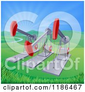 Clipart Of Pumpjacks Over Oil Wells In A Hilly Landscape With Sun Rays Royalty Free Vector Illustration