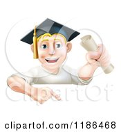 Cartoon Of A Happy Blond Graduate Man Holding A Certificate And Pointing Down At A Sign Royalty Free Vector Clipart