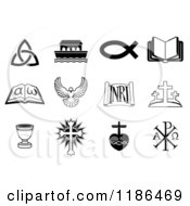 Clipart Of Black And White Christian Icons Royalty Free Vector Illustration by AtStockIllustration