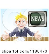 Cartoon Of An Enthusiastic Male News Anchor Royalty Free Vector Clipart by AtStockIllustration