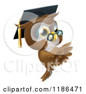 Cartoon Of A Professor Owl Wearing A Graduation Cap And Presenting A Sign Royalty Free Vector Clipart by AtStockIllustration