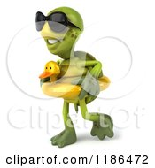 Clipart Of A 3d Tortoise Wearing Sunglasses And Walking With An Inner Tube Royalty Free CGI Illustration