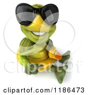Clipart Of A 3d Tortoise Wearing Sunglasses And Sitting With An Inner Tube 3 Royalty Free CGI Illustration