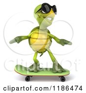 Clipart Of A 3d Tortoise Wearing Sunglasses And Skateboarding Royalty Free CGI Illustration