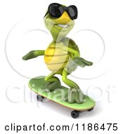 Clipart Of A 3d Tortoise Wearing Sunglasses And Skateboarding 2 Royalty Free CGI Illustration