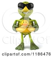 Clipart Of A 3d Tortoise Wearing Sunglasses And An Inner Tube Royalty Free CGI Illustration