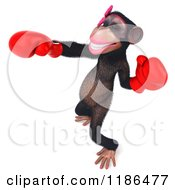 Clipart Of A 3d Female Boxing Chimp 7 Royalty Free CGI Illustration