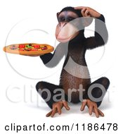 Clipart Of A 3d Thinking Chimp Holding A Pizza 2 Royalty Free CGI Illustration