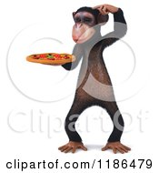 Clipart Of A 3d Thinking Chimp Holding A Pizza 3 Royalty Free CGI Illustration