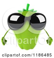 Clipart Of A 3d Green Bell Pepper Wearing Sunglasses Royalty Free CGI Illustration by Julos