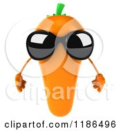 Clipart Of A 3d Carrot Mascot Wearing Sunglasses Royalty Free CGI Illustration
