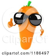 Clipart Of A 3d Carrot Mascot Wearing Sunglasses And Holding A Thumb Up Royalty Free CGI Illustration