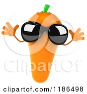 Clipart Of A 3d Carrot Mascot Wearing Sunglasses And Jumping Royalty Free CGI Illustration