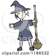 Cartoon Of A Girl Dressed As A Witch Royalty Free Vector Illustration by lineartestpilot