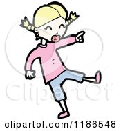 Cartoon Of A Girl With Pigtails Royalty Free Vector Illustration