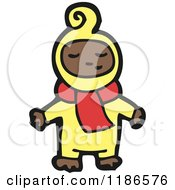 Cartoon Of A Child Wearing Pajamas And A Scarf Royalty Free Vector Illustration
