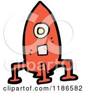 Cartoon Of Red Rocketship Royalty Free Vector Illustration