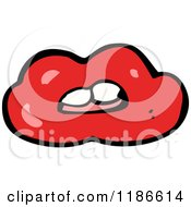 Cartoon Of A Red Lipped Mouth Royalty Free Vector Illustration