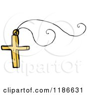 Cartoon Of A Gold Christian Cross Necklace Royalty Free Vector Illustration by lineartestpilot