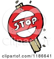 Cartoon Of A Stop Sign Royalty Free Vector Illustration by lineartestpilot