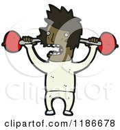 Cartoon Of A Black Man Lifting Barbells Royalty Free Vector Illustration