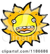 Cartoon Of A Sun With A Face Royalty Free Vector Illustration by lineartestpilot